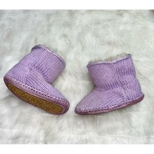 UGG Baby Boots Lilac Purple 4-5 Toddler Knit REAL